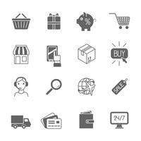 Einkaufse-Commerce-Ikonen schwarz eingestellt