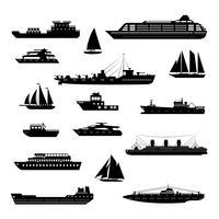 Schiffe und Boote schwarz und weiß gesetzt vektor