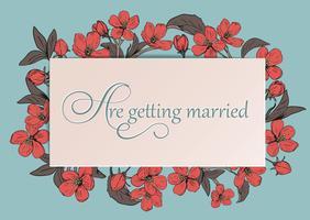 Blom- bröllopinbjudan kort mall med text. vektor