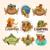 Camping skiss emblem vektor