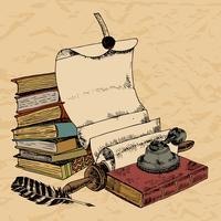 Papper rullar fjäder och böcker