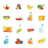 Flache Ikonen der gesunden Ernährung vektor
