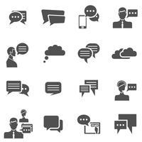 Chat ikoner svart vektor
