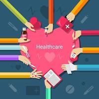 Sjukvård platt koncept vektor