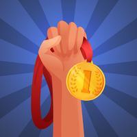 Handhållande medalj vektor