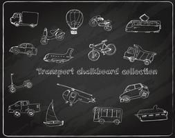 Transport klotter uppsättning tavlan vektor