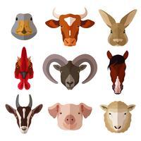 sällskapsdjur porträtt platt ikonuppsättning