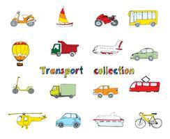 Transport klotter uppsättning färgad vektor