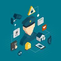 Isometrische Symbole für Sicherheit zu Hause
