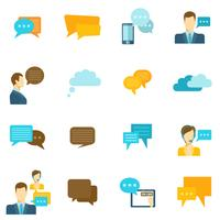 Chat ikoner platt vektor