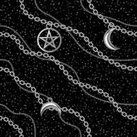 Nahtloser Musterhintergrund mit Pentagram- und Mondanhängern auf silberner metallischer Kette. Auf schwarz. Vektor-illustration