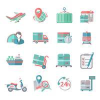 Logistiska ikoner ställs platt vektor