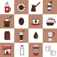 Kaffe ikoner platt linje