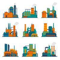 Industriegebäudeikonen flach eingestellt vektor