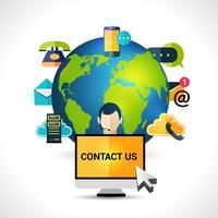 Kontaktieren Sie uns Konzept Globus Poster vektor