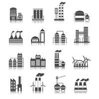 Industriell byggnad ikoner