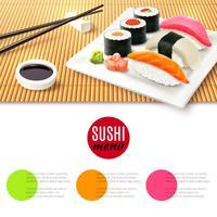 Sushi und Bambusmatte vektor