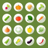 Grönsaker Ikoner Flat Set