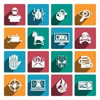 Hacker ikoner vit uppsättning