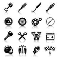 Motorcykel delar svart uppsättning vektor