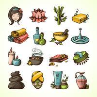 Spa Sketch Icons Färgad