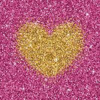 Gult guld glitter hjärta på lila rosa konsistens. Shimmer kärlek bakgrund.
