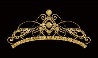 Glittrande Diadem. Guld tiara isolerad på svart bakgrund.