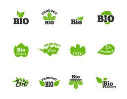 Gröna blad platt ikoner uppsättning vektor
