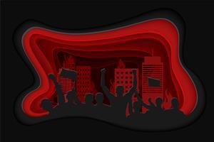 Papierkunstschnitzen des Schattenbildes der zujubelnden oder protestierenden Menge mit Flaggen und Fahnen und Stadtbild. vektor