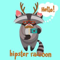 Hipster tvättbjörnaffisch vektor