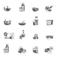 Schwarze Ikonen der gesunden Ernährung vektor
