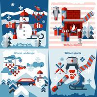Vinter platta ikoner uppsättning