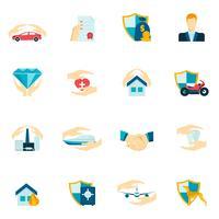Försäkring ikoner platt