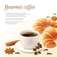 Frühstück mit Kaffeehintergrund
