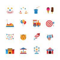 Nöjespark ikoner platt