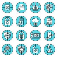 Dataskydd ikoner blå linje