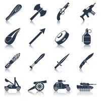 Vapen ikoner svart uppsättning vektor