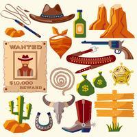 Cowboy ikoner platt vektor