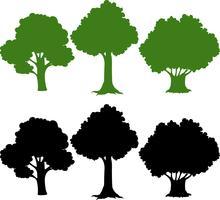 Sats av silhuett träd