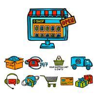 Online shopping dekorativa uppsättning vektor