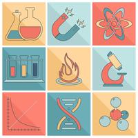 Laboratorieutrustning ikoner platt linje
