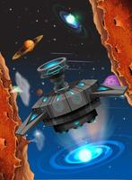 Främmande skepp i rymdscenen vektor