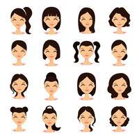 Unga vackra kvinnor vackra ansikten med olika frisyrer. Tecknad vacker flicka platt stil.