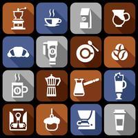 Kaffe ikoner platt skugguppsättning