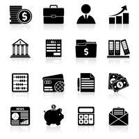 Buchhaltungsikonen schwarz eingestellt