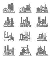 Industriegebäudeikonen eingestellt vektor