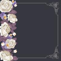 Flora kort mall med vita rosor och kvadratisk kalligrafisk ram.