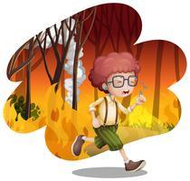 En pojke som löper från vilt