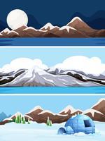 Set av vinterlandskap vektor