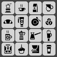 Kaffe ikoner svart uppsättning
